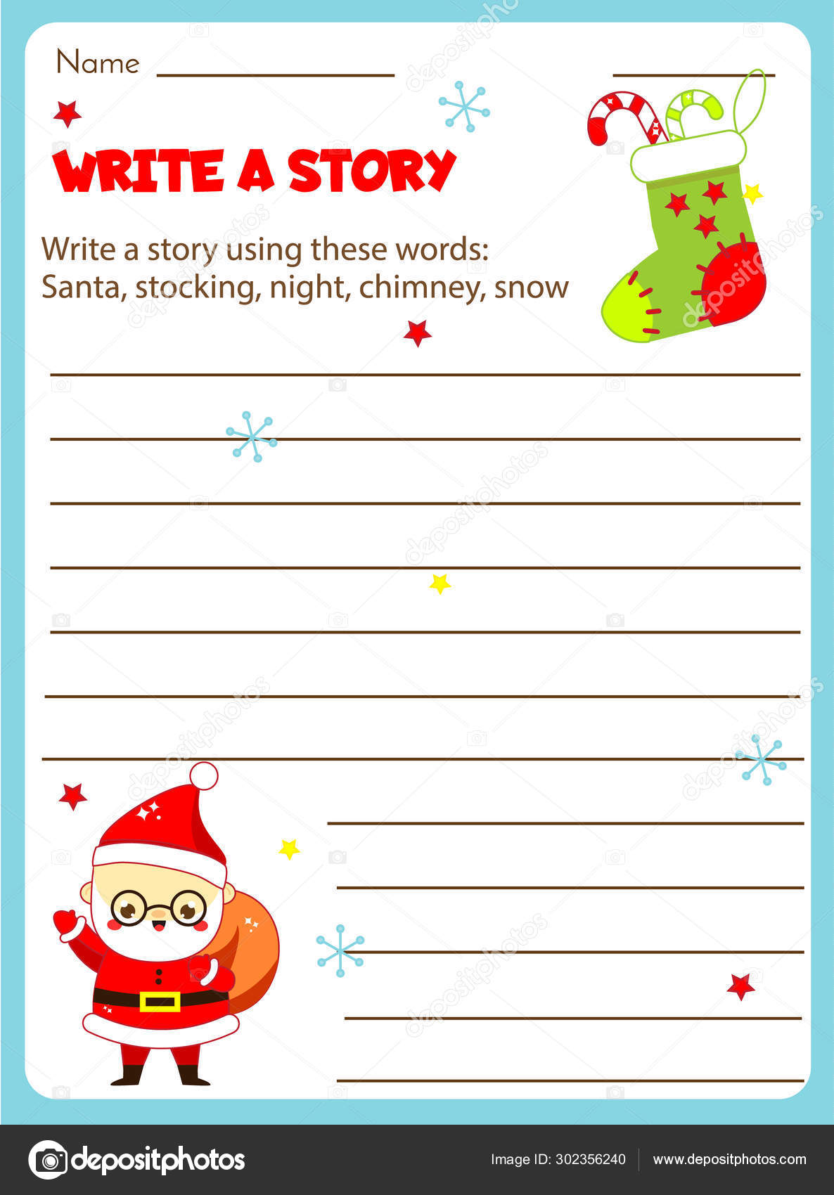 Writing Prompt For Kids Blank Educational Children Page