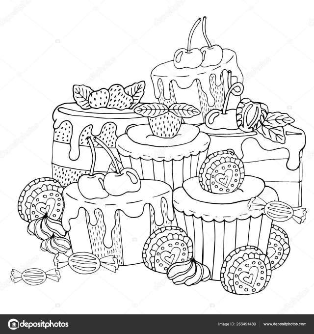 Coloring page with cake, cupcake, candy and other dessert with b