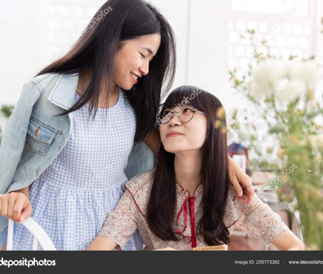 Two Asian Girl Teen Love Together Look Each Other Friendship Stock Photo