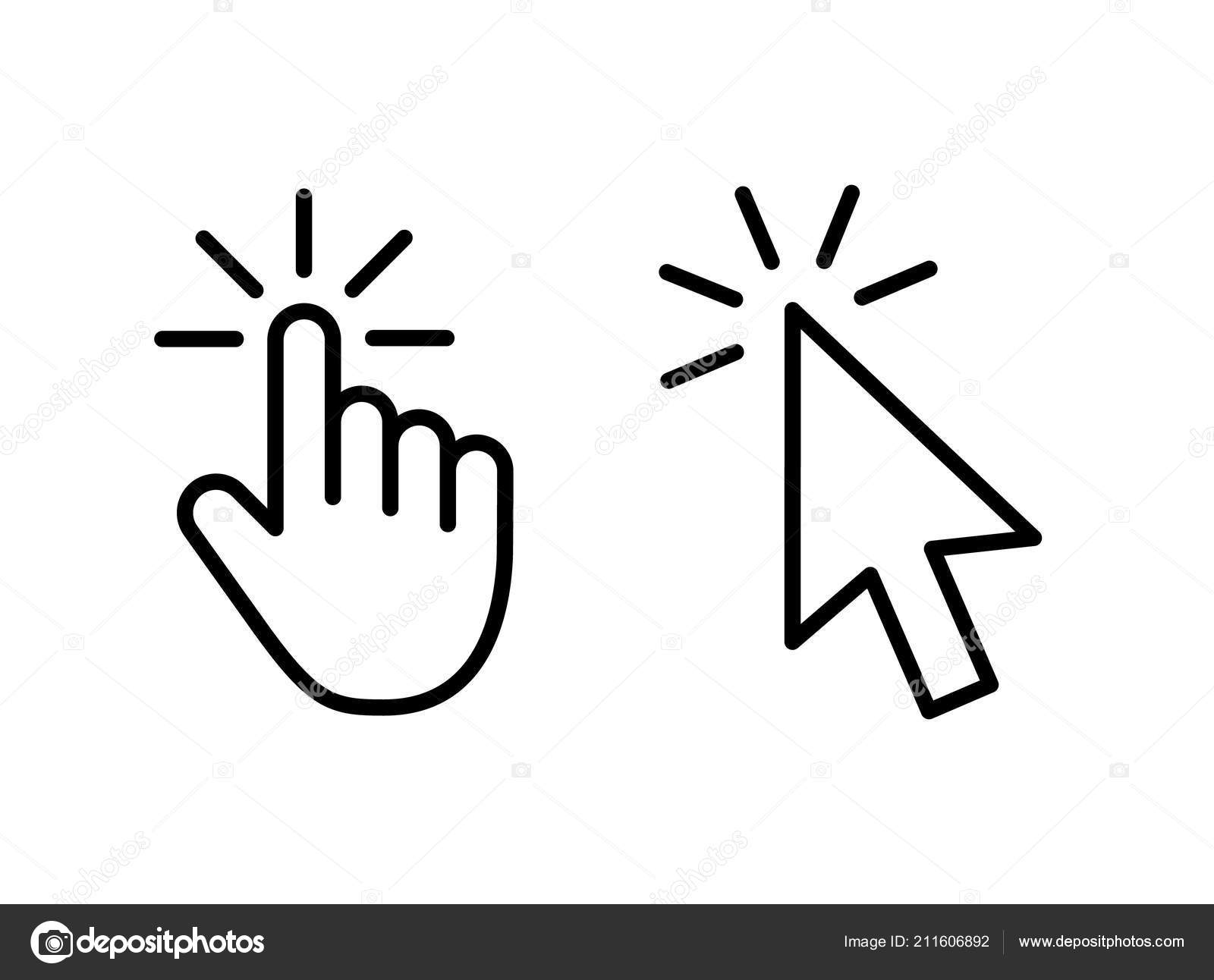 Computer Mouse Click Cursor Gray Arrow Icons Set And