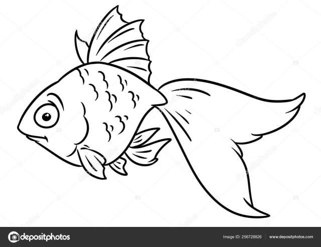 Goldfish Animal Character Cartoon Illustration Isolated Image