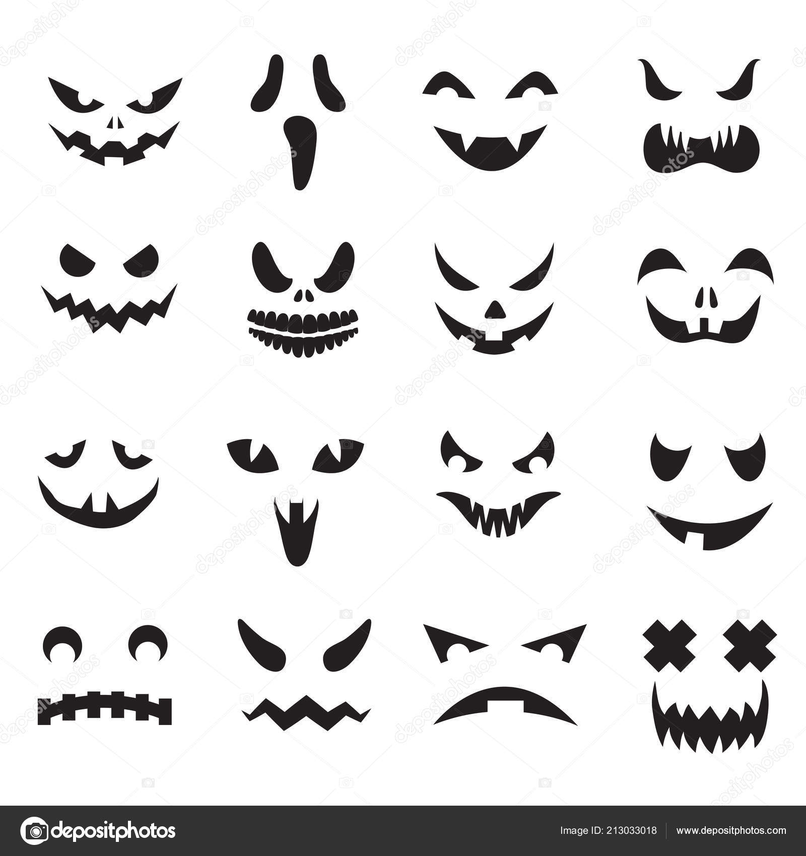 Pumpkin Faces Halloween Jack O Lantern Face Silhouettes