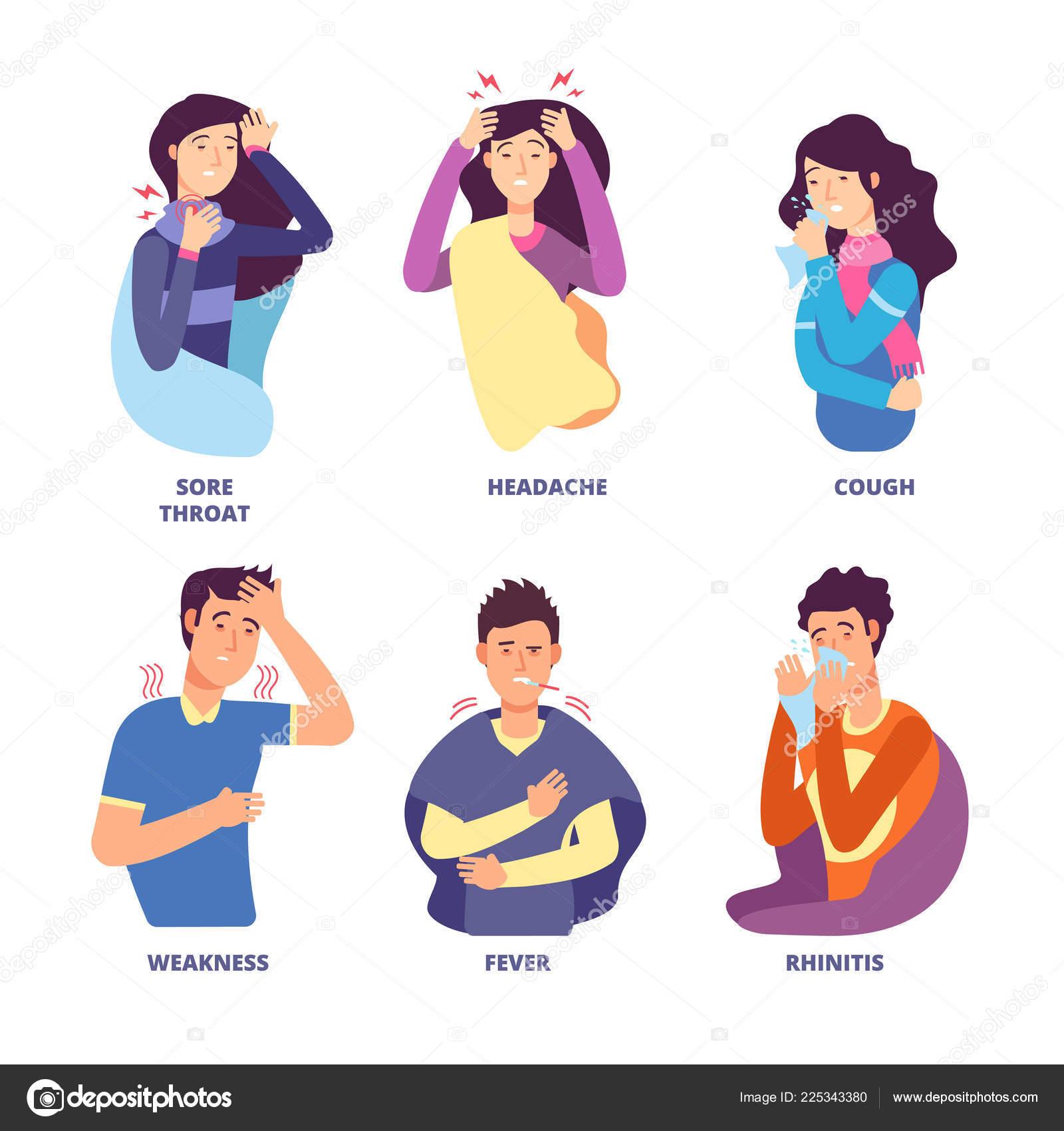 Sintomas De Gripe Pessoas Demonstrando Doenca Fria Febre
