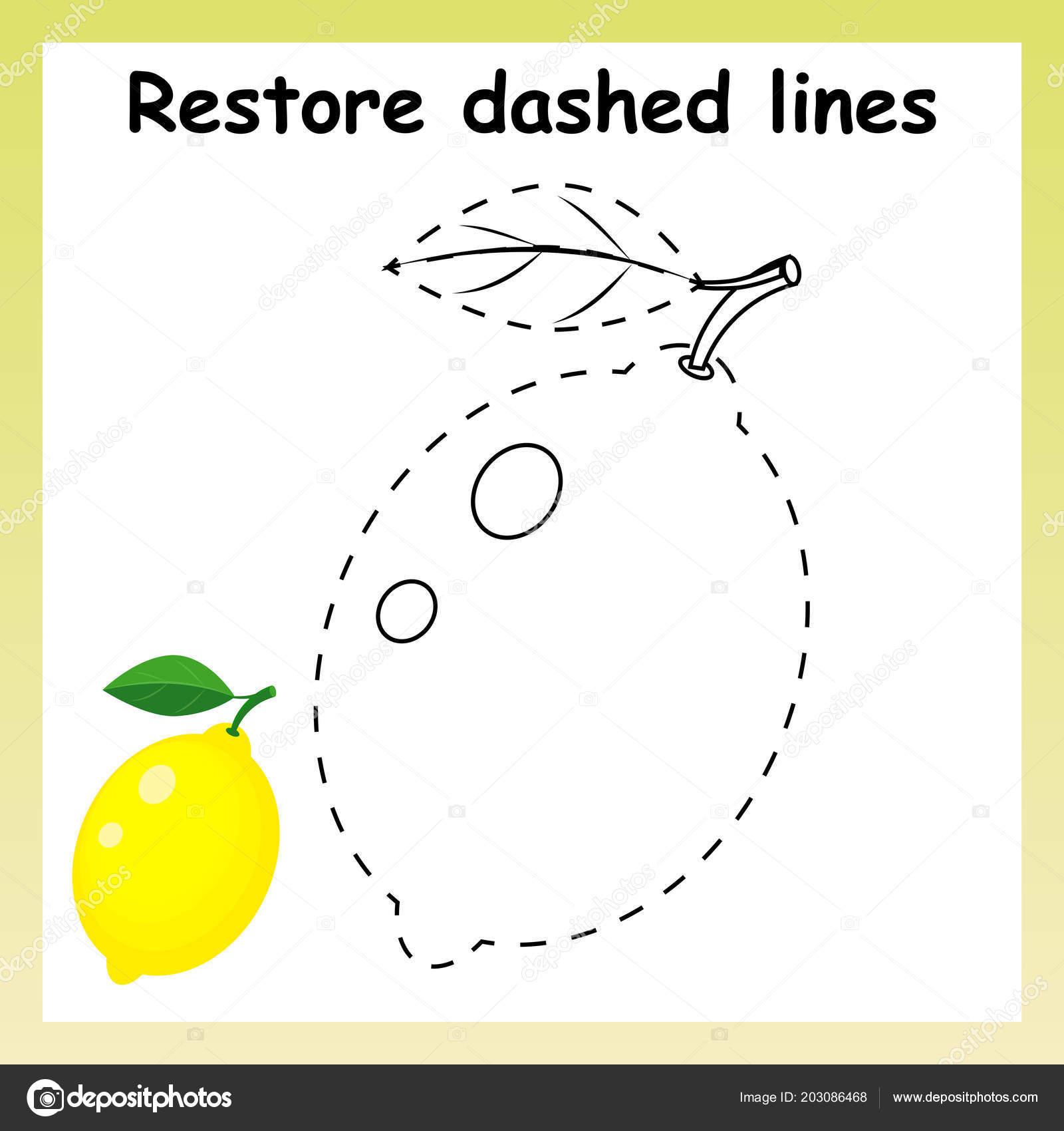 Trace Game For Children Cartoon Yellow Lemon Restore