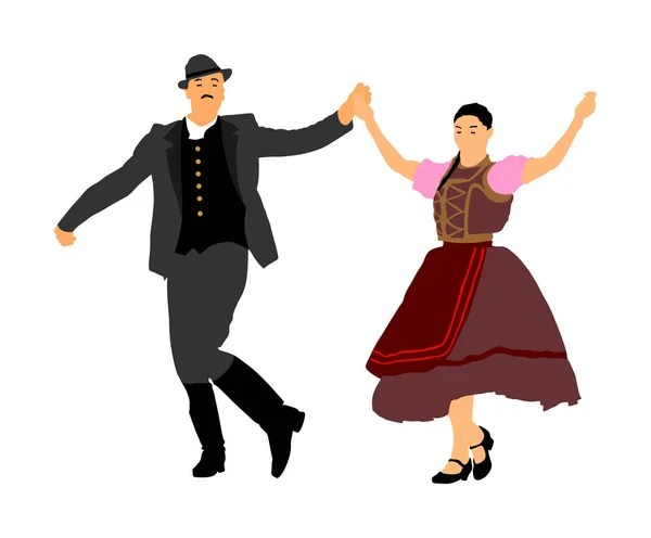 Hungarian Folk Dancers Couple Silhouette Folklore Vector Image