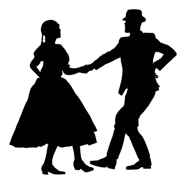 Hungarian Folk Dancers Couple Wedding Folklore Vector Image