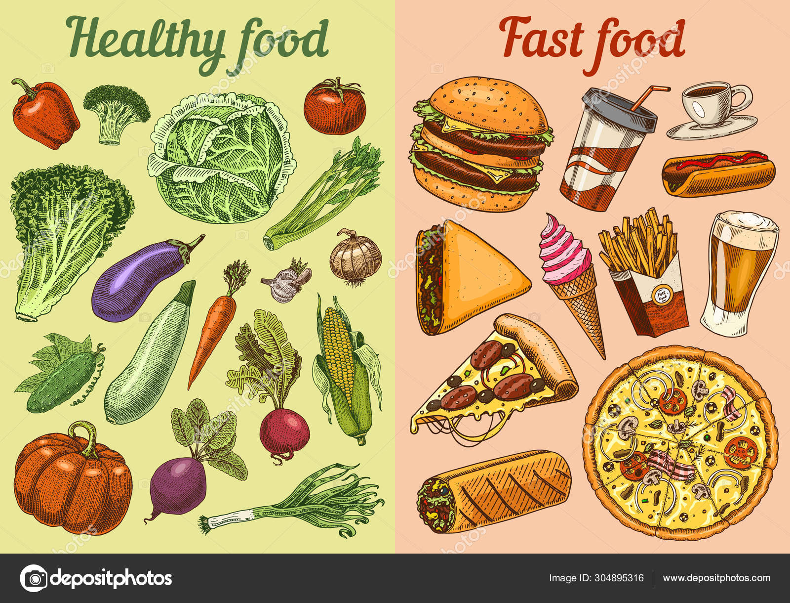 Healthy Vs Junk Food Concept Fruits And Vegetables Or