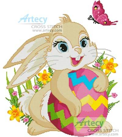 Cute Easter Bunny Cross Stitch Pattern Easter