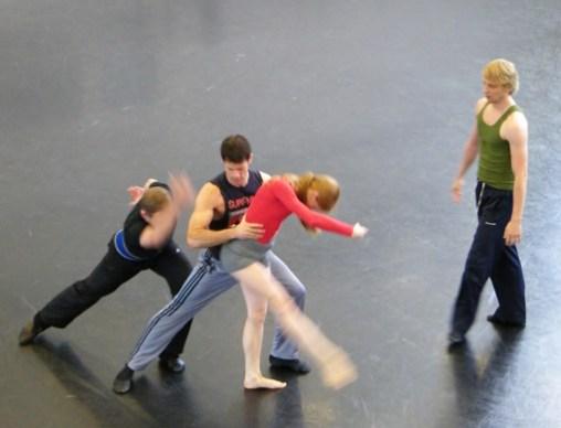 Robert, Mehmet, Iana und Sven bei der Probe.