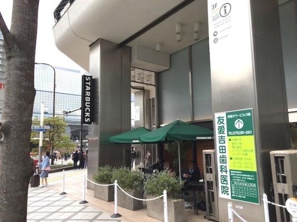 京都タワーサンド店 スタバのテラス席 奥には京都駅