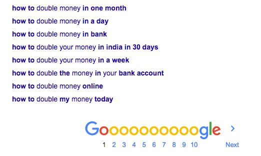 Google Search Double Money