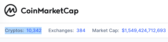 number of cryptocurrencies today