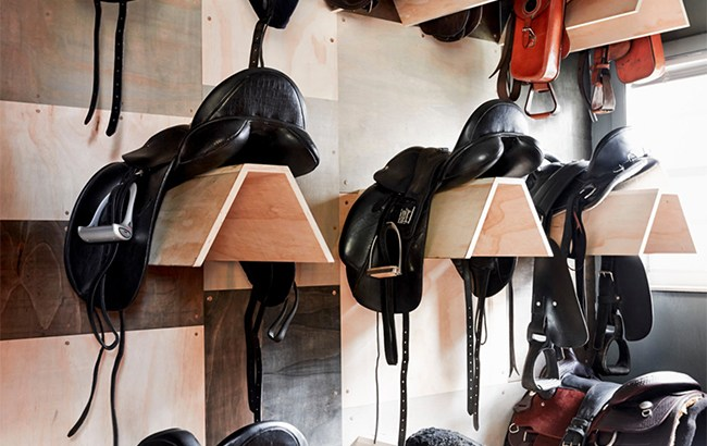 The tack room at Blue Stallion Farm