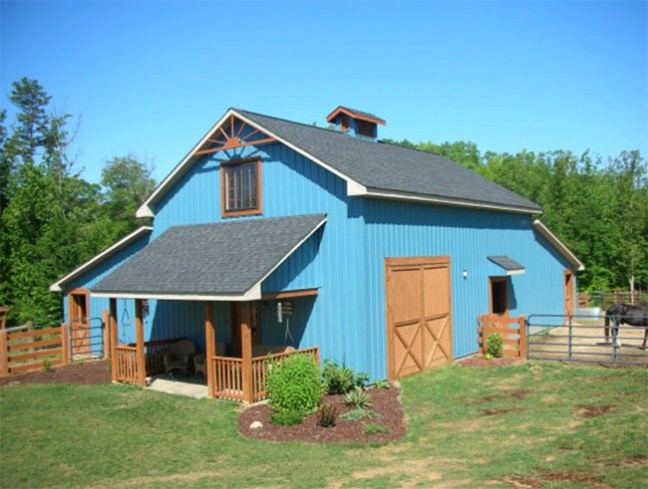 Adorable blue horse barn with great design