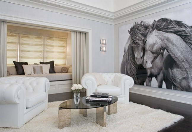 Oversized horse art in the living room