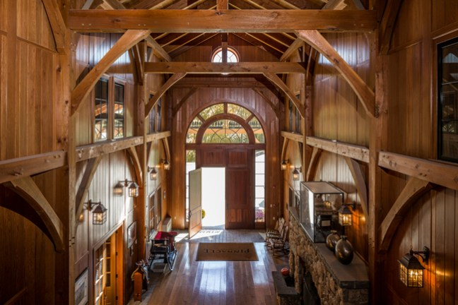 Exposed beams high ceilings and lots of natural light