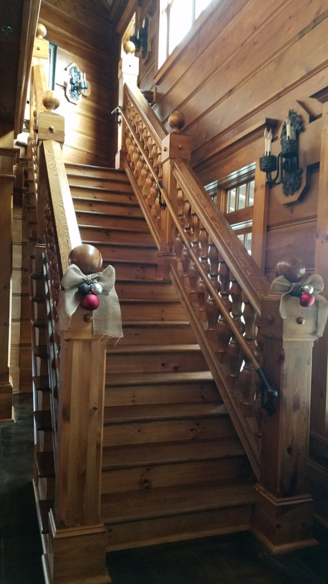 stairs decked out for the holidays