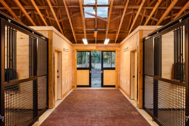 inside the stunning two stall horse barn