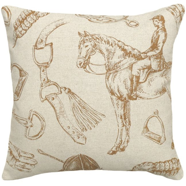 Equestrian+Linen+Throw+Pillow