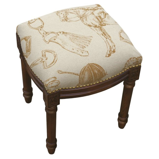 Equestrian+Linen+Upholstered+Vanity+Stool