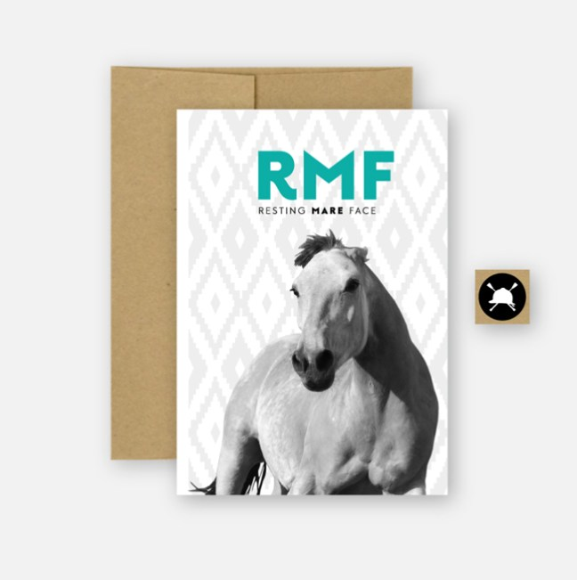 Resting Mare Face card