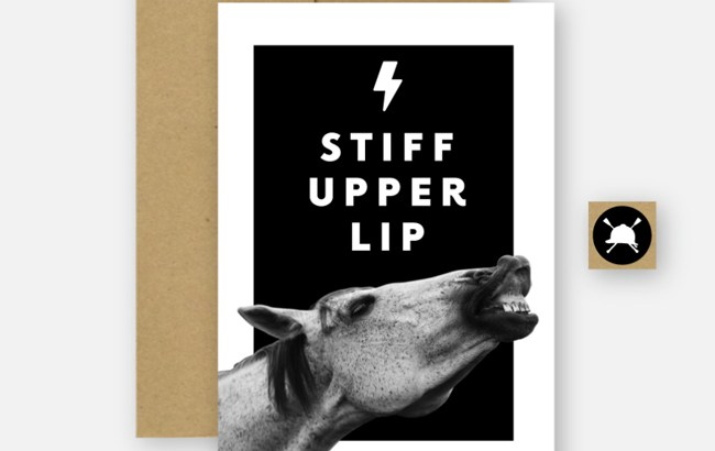Stiff Upper Lip card