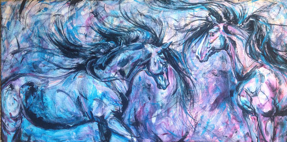 Horse Dance print on canvas