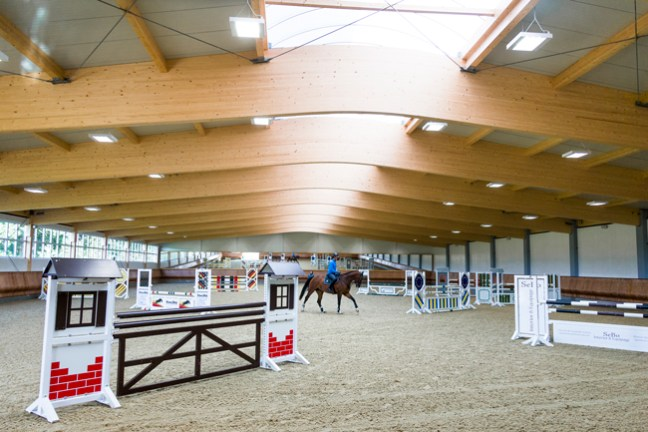 jumps inside the riding arena