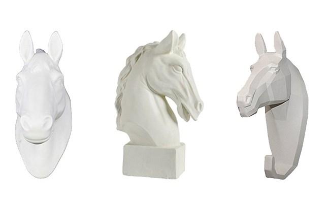 white horse head decor