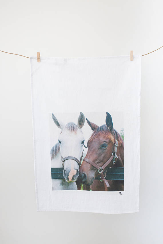 Friends Horses Horse by the Fence Equine Themed Cotton Tea Towel Perfect Gift
