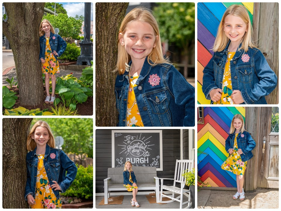 Girl in yellow dress and jean jacket poses for portraits during her outdoor photography session.
