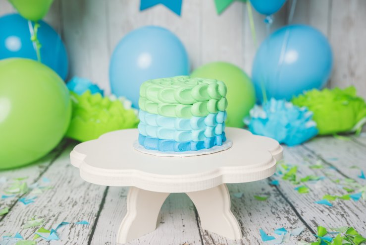 Blue and Green Cake Smash Cache Valley Utah