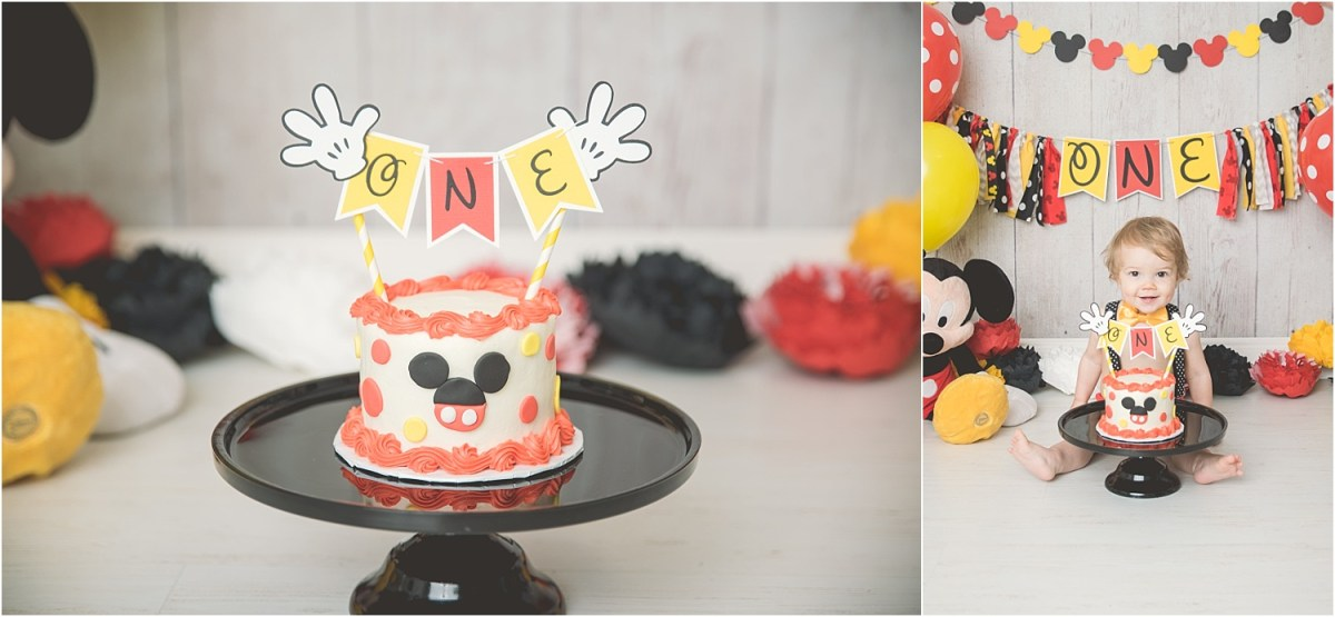 Hayden 1 Year Mickey Mouse Cake Smash Utah Photographer