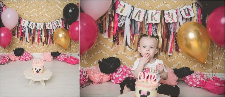 Davis Minnie Mouse Cake Smash Logan Utah Cake Smash Photographer