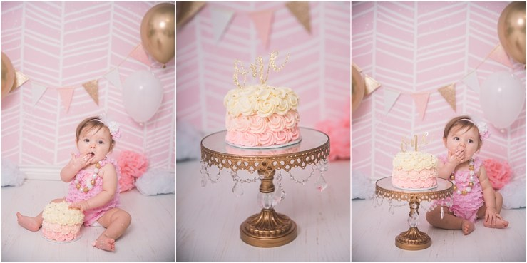 Pink Gold Cake Smash Logan Utah Photographer