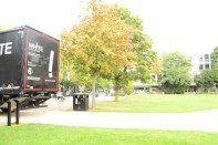 The lorry arriving in imperial square in Cheltenham.