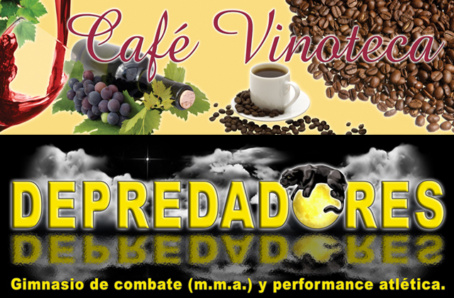 Steve Stachini BIO pic - Two images graphic designs for two large format imaging, one on vinyl and the other a banner. Vinoteca sign shows wine, grapes and coffee with a cream background. Depredadores is a black banner showing night time moon with a black panther laying on top of the yellow moon. Designed by Steve Stachini.