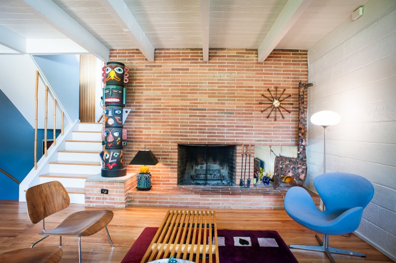 mid century modern fireplace, brick fireplace