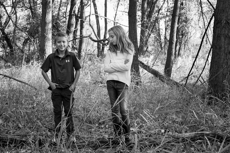 B&W photograph of kids in the woods near Denver