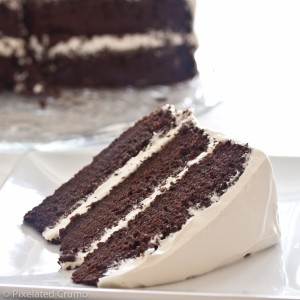 three tiered chocolate cake with white frosting