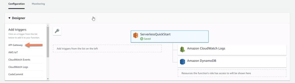 AWS Lambda API gateway screenshot