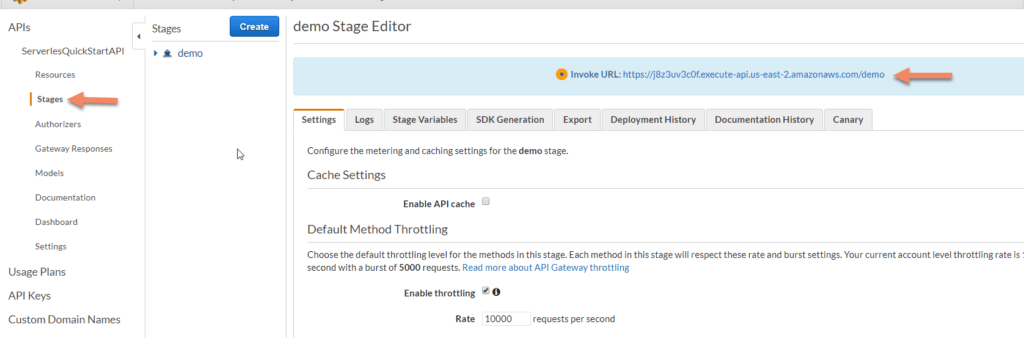 AWS Lambda stages screenshot