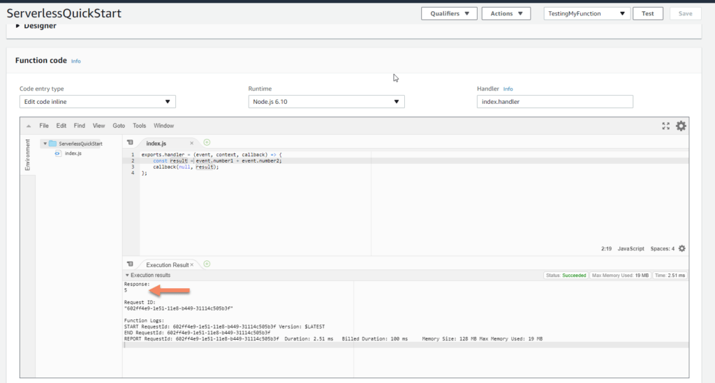 AWS Lambda test showing 5 screenshot