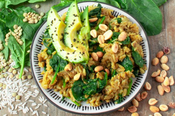 Green Lentils and Rice with Curry