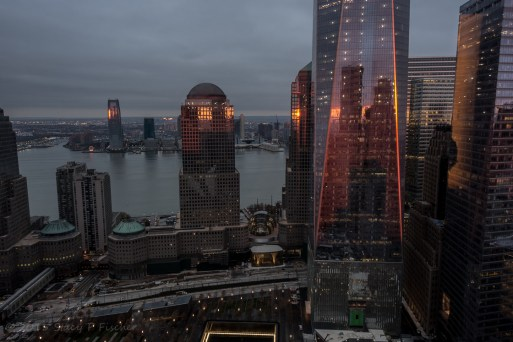 One World Trade Center and surrounding buildings, sunrise