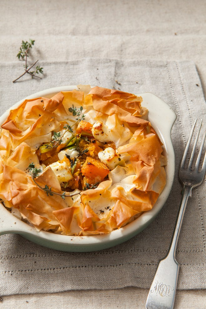 Butternut Squash and Feta Filo Pie | Stacy Grant