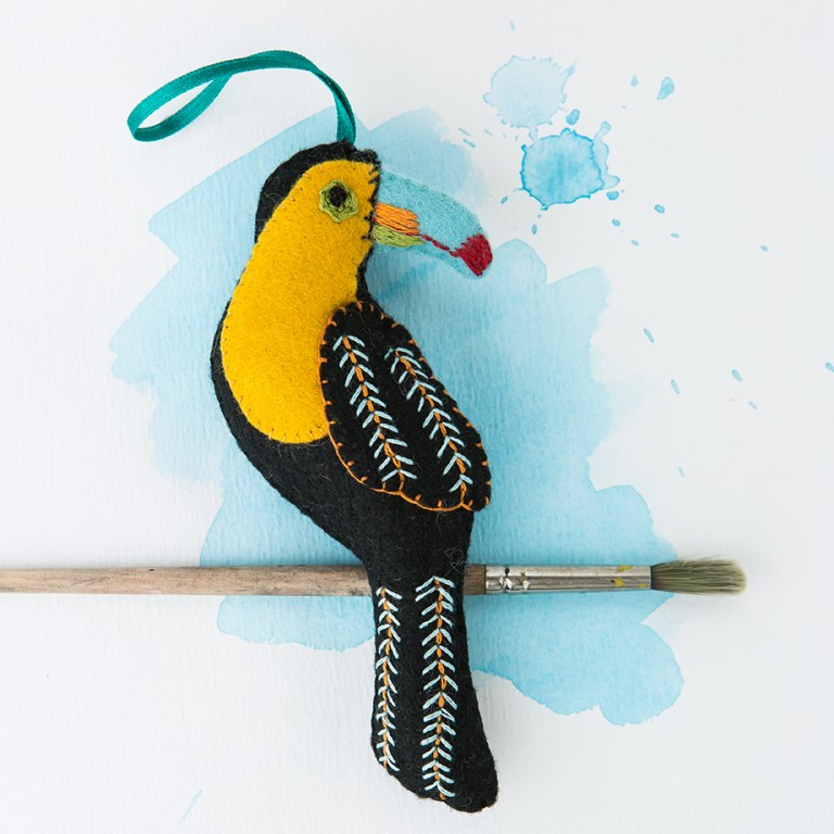 Tucan Bird | Folk Embroidered Felt Birds | Stacy Grant Photography