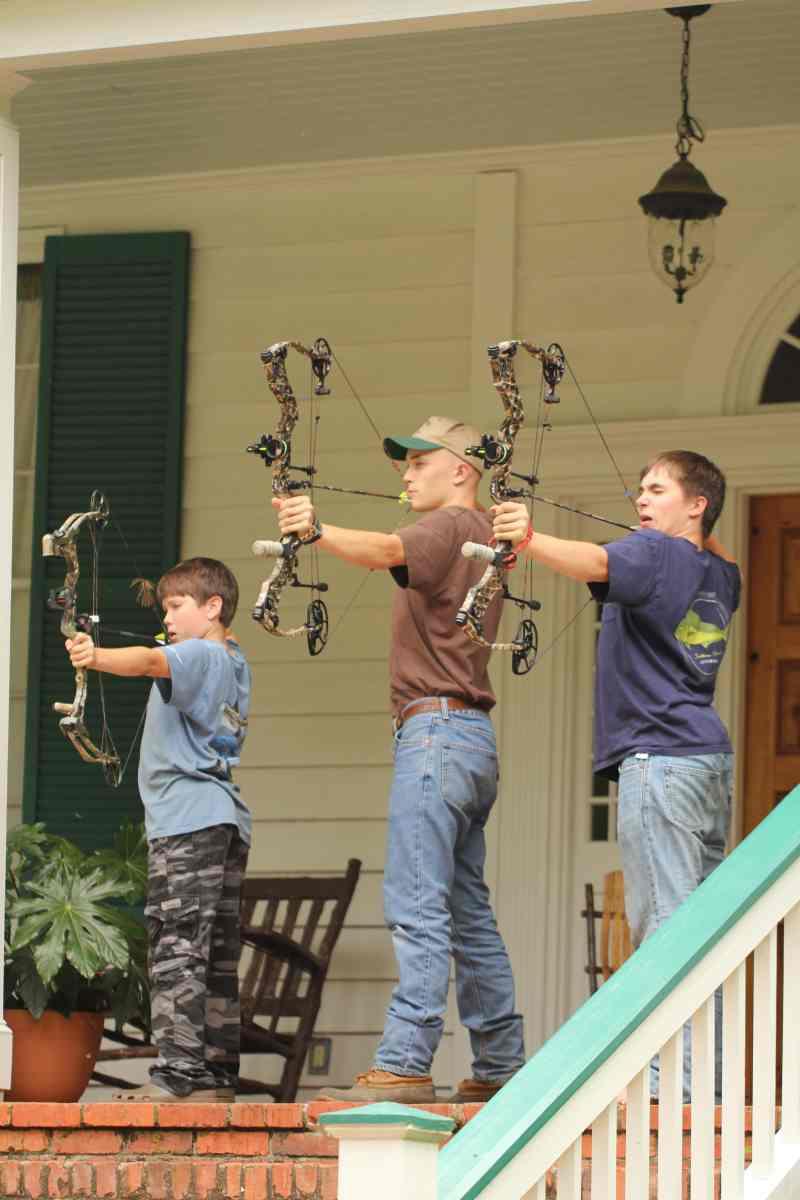 Harris Boys Practicing Bow Shooting