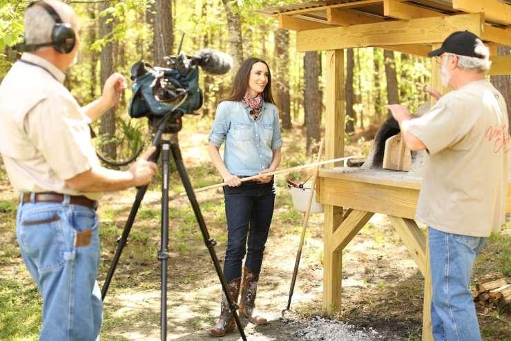Stacy Harris Cooking in Earthen Oven on Venture Outdoor TV Show