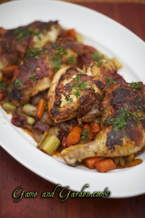 This succulent Farmer's Rustic Chicken Recipe is my favorite chicken recipe of all time. You can substitute pheasant for the chicken.